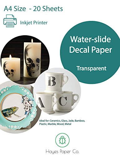 Hayes Paper, Waterslide Decal Paper INKJET CLEAR 20 Sheets Premium Water-Slide Transfer Transparent Printable Water Slide Decals A4 Size