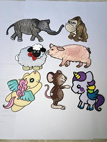 7 Animals Horse Unicorn King Kong Elephant Pig Sheep Rat Patch Children Kids Baby Sew-on Iron-on Patches by Barque of commerce