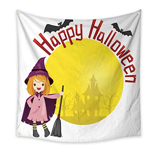 BlountDecor Gorgeous Tapestry Girl in Halloween Witch Costume 63W x 63L Inch ()