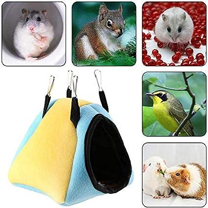 HEEPDD Hamsters cama de invierno cálido algodón linter colgante hamaca pequeña con gancho para chinchilla, cobaya, erizo y hámsters