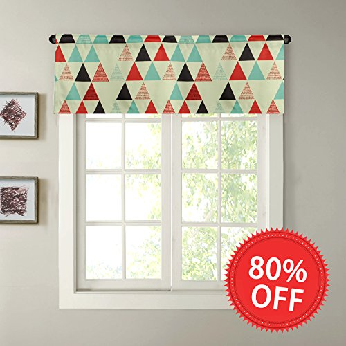 H.VERSAILTEX Thermal Insulated Blackout Kitchen Bath Laundry Bedroom Living Room with Rod Pocket Top Window Curtain Valances - Geo Triangle in Red and Black - 51