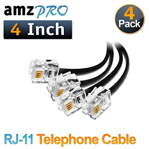 ((4 Pack) 4 Inch Short Telephone Cable Rj11 Male to Male 4