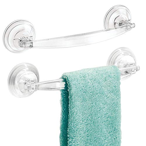 mDesign Bathroom Shower Suction Cup Towel Bars for Hand Towels, Wash Cloths - Pack of 2, Clear