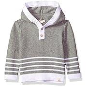 Burt's Bees Baby Unisex Sweatshirt, Long Sleeve Pullover Sweater, 100% Organic Cotton, Heather Grey Stripe, 0-3 Months