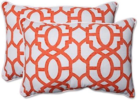 Pillow Perfect Outdoor Indoor Nunu Geo Mango Oversized Lumbar Pillows, 24.5 x 16.5 , White, 2 2
