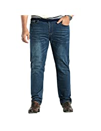 Milan Station Men's Straight Regular Fit Thin Stretch Jeans Bussiness Pants Plus Size 28-48