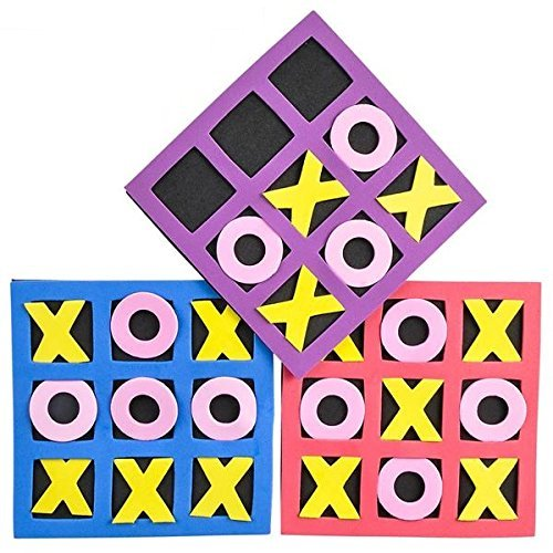 Kicko Tic Tac Toe Mini Foam Game -12 Pack of 5 X 5 Inch Boards for Kids and Adults. Non-Breakable, They Come in Exciting Assorted Color for Party Favor and is a Great Educational Tool -