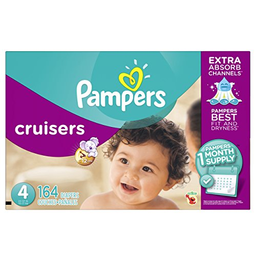 Pampers Cruisers Disposable Diapers Size 4, 164 Count, ONE MONTH SUPPLY