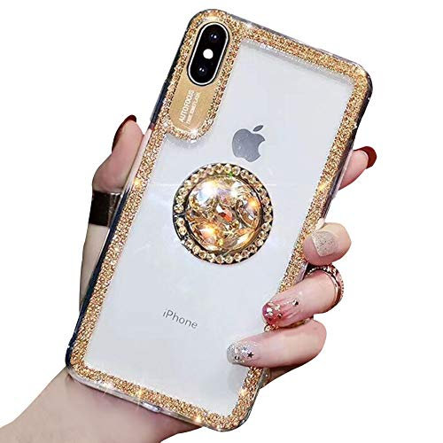 YiCTe Case for iPhone 7/8 [Not for iPhone 7 Plus/8 Plus],Luxury Glitter Bling Diamond Shiny Rhinestone Crystal Ring Kickstand Cover Transparent Slim Fit Hard PC Stand Case for iPhone -