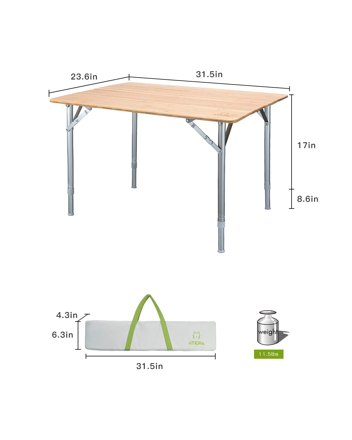 ATEPA Bamboo Folding Camping Table with Carrying Bag, Adjustable Height Legs Camp Table, Compact Lightweight Foldable Portable Outdoor Travel Picnic Table, 31.5 23.6 17-25.6 Inches,11.5lbs