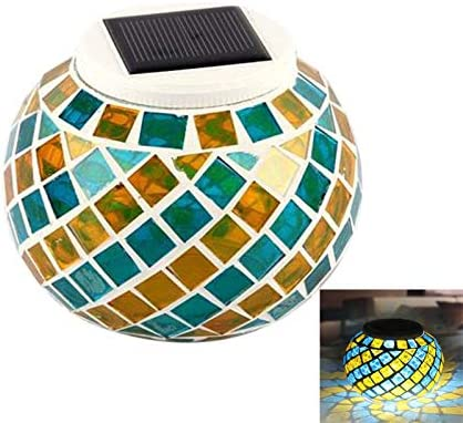Laelr Solar Mosaic Glass Ball Garden Lights Solar Powered Glass Night Lights Waterproof Color Changing Mood Night Lights Solar Table Lights Lamp for Outdoor Indoor Decorations