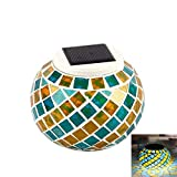 Mosaic Solar Lights, Waterproof Solar Powered Glass Color Changing Night Lights LED Magic Ball for Bedroom Party Garden Pati Yard Colorful Outdoor Indoor Decoration