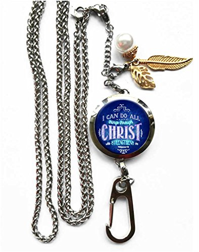 RhyNSky I Can Do All Things Through Christ Who Strengthens Me Aromatherapy Essential Oil Diffuser Locket Pendant ID Badge Holder Lanyard Necklace Bracelet Keychain with Chain and Pads, C1101 ()