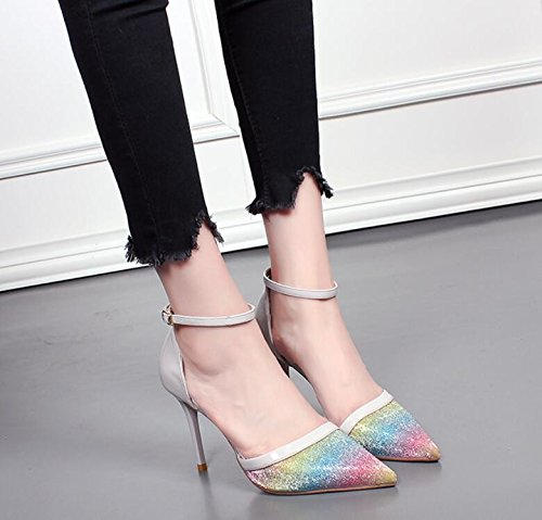 KHSKX Sexy Sharp Women Shoes Korean Version Of The Summer And Autumn Rainbow Spelling High Heel Shoes Girl Thin Shoe Tide Grey NlwsVVd