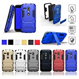 Moto G Case,Motorola G Case(1st)*HOT* Shockproof Absorbing Dual Layer Hybrid Holster Cover Kickstand Case for Motorola Moto G (1st Generation Only)2015 Release,Premium Hybrid Bumper Case (blue)