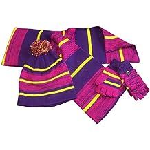 N'Ice Caps Little Kids Heather Striped Hat/Scarf/Glitten Winter Set