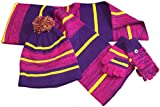 N'Ice Caps Kids and Toddlers Heather Striped Hat/Scarf/Glitten Set (2-3 Years, purple/neon yellow/fuchsia heather)