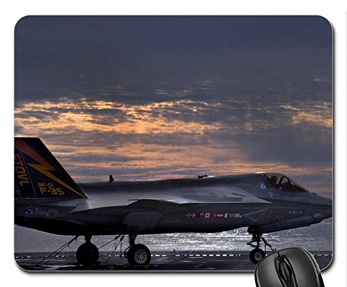 lockheed-martin-f35-ii-on-aircraft-carrier-mouse-pad-mousepad-102-x83-x-012-inches