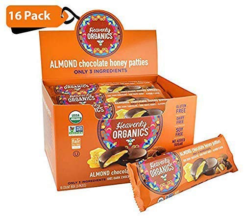 Heavenly Organics Almond Chocolate Honey Patties (16 Pack) Made with 100% Organic Cocoa and 100% Organic Raw White Honey; Non-GMO, Fair Trade, Kosher, Dairy & Gluten Free, No Sugar Added ()