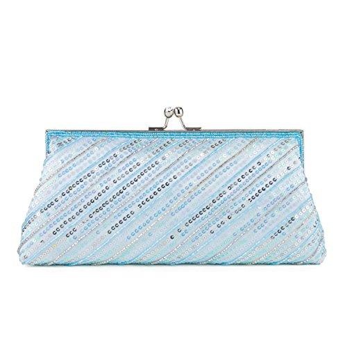 Farfalla 90578 - Bolso estilo sobre de satén mujer azul - azul