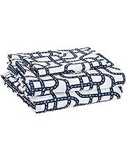 Amazon Basics Kid's Sheet Set - Soft, Easy-Wash Microfiber - Twin, Blue Racetrack