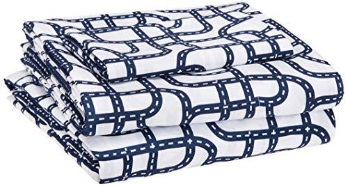 AmazonBasics Kid's Sheet Set - Soft, Easy-Wash Microfiber - Twin, Blue Racetrack (Kids Bedroom Sheet Sets)