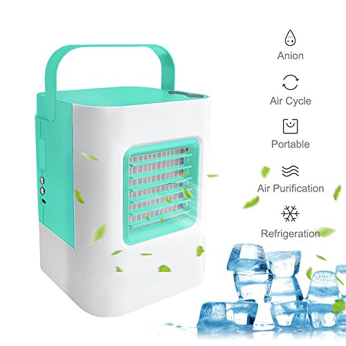 GooDGo Portable USB Air Conditioner Desk Fan Cooling Humidifier, Personal Quiet Anion LED Cooler Desktop Fan for Home Office Outdoor Study Summer Cooling (Green) by GooDGo