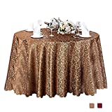 Eforcurtain 108 Inch Round Classic Restaurant Tablecloth Jacquard Floral Overlay Woven Fabric Table Cover Banquet, Coffee