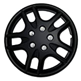 TuningPros WSC-523B15 Hubcaps Wheel Skin Cover 15-Inches Matte Black Set of 4
