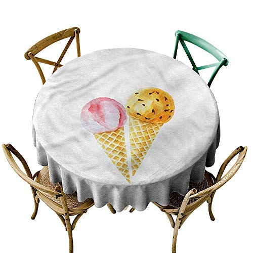 """familytaste Ice Cream,Wholesale tablecloths Strawberry Orange Topping D 36"""" Tabletop Decoration Round Tablecloth"""