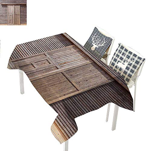 WilliamsDecor Industrial Table Cloths Spill Proof Old Wooden Timber Oak Barn Door Farmhouse Countryside Rural House Village Artsy PrintBrown Rectangle Tablecloth W60 xL84 inch