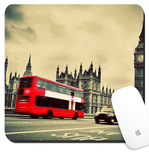 Luxlady Suqare Mousepad 8x8 Inch Mouse Pads/Mat design IMAGE ID: 25077156 London the UK Red bus in motion and Big Ben the Palace of Westminster The icons of England in vintage (About Westminster You All)