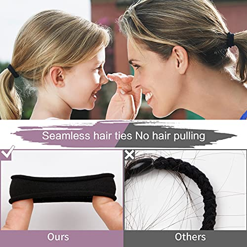 SYGY 100 PCS Black Hair Ties for Women, Cotton Seamless Thick Hair Bands, No Crease No Damage for Thick/Thin Hair, Soft Elastic Hair Ties Ponytail Holders Hair Accessories