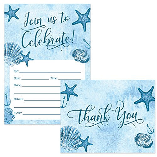 All Occasion Invitations & Matched Thank You Notes (50 of Each) Set with Envelopes Beach Seashore Theme Celebrate Birthday Graduation Retirement Fill-in Invites & Folded Thank You Cards Great Value