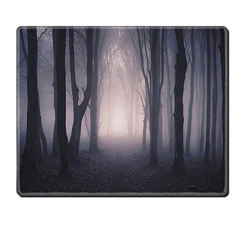 Price comparison product image Mouse Pad Unique Custom Printed Mousepad Dark Farm House Decor Path Through Dark Deep In Forest With Fog Halloween Creepy Twisted Branches Picture Pink Brown Stitched Edge Non Slip Rubber