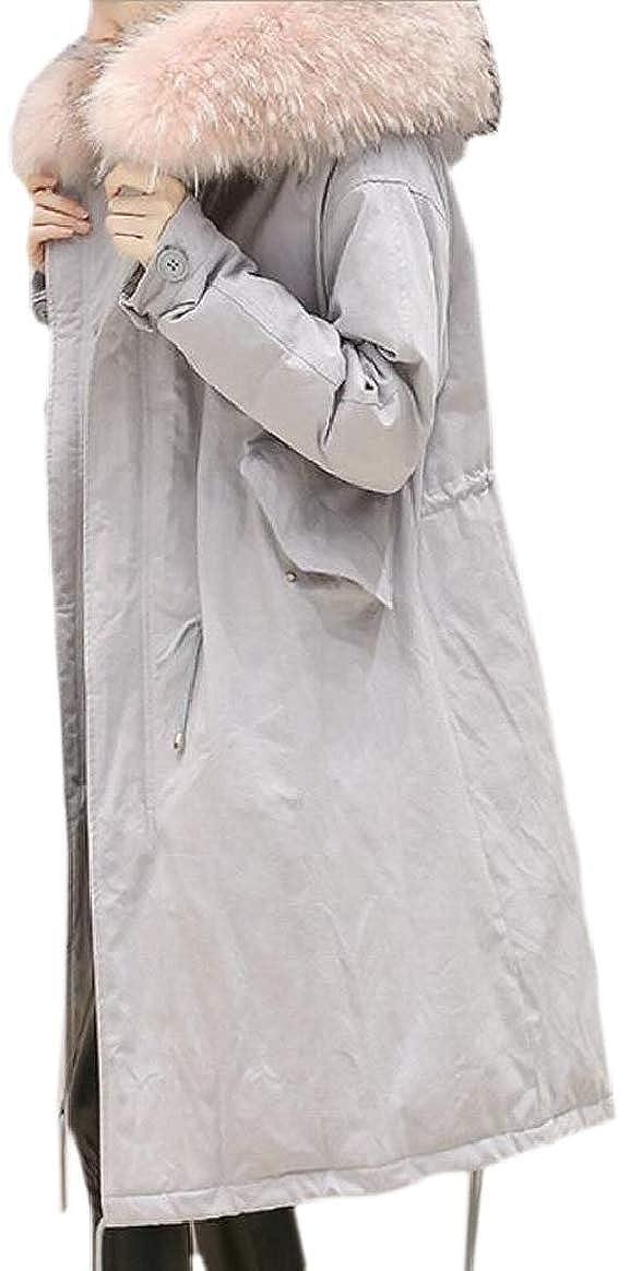 6 pujinggeCA Women Winter Puffer Down Faux Fur Hood Oversized Thick Jacket Coat