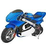 gas bike - XtremepowerUS Gas Pocket Bike Motorcycle 40cc 4-stroke Engine (Blue)