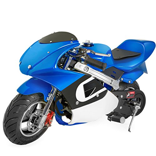 XtremepowerUS Gas Pocket Bike Motorcycle 40cc 4-Stroke Engine (Blue)