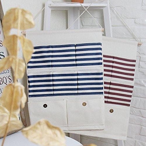Blue Dosige 1 Pcs Linen//Cotton Fabric Wall Door Closet Hanging Storage Bag Case with 8 Pockets Stripes Organizer Basket