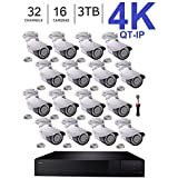 Q-See 4K (8MP) QT-IP Kit Sixteen Camera with NVR IP Ultra-HD 32-Channel with 3TB HDD with H.265 (QT816-3 + 16x QTN8086B + 1 x QSPMIC)