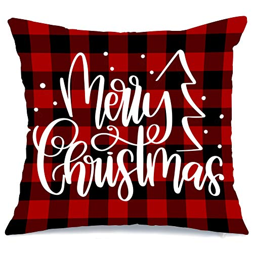 AENEY Christmas Pillow Cover 18x18 for Couch Red and Black Buffalo Check Plaid Marry Christmas Throw Pillow Farmhouse Decorations Home Decor Xmas Decorative Pillowcase Faux Linen Cushion Case Sofa ()