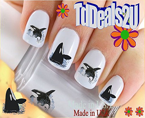 Animals - Whale - Whales 3 Orca Whale Nail Decals - WaterSlide Nail Art Decals - Highest Quality! Made in USA ()