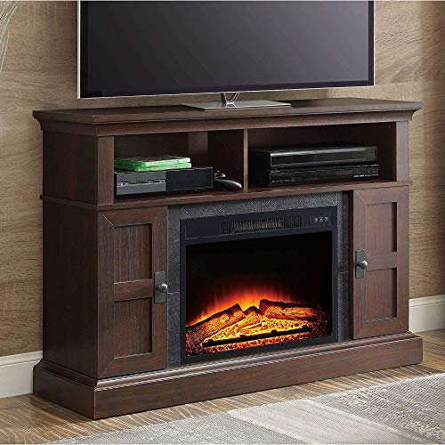 Whalen Furniture Media Fireplace and TV Console Stand Fits Up to 55
