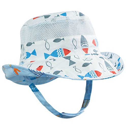 - ERISO Baby Bucket Hat Reversible Sun Protection for Baby Girl Boy Infant Kids Toddler (48, Fish)