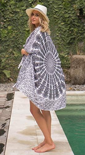 SHU-SHI Womens Sarong Beach Swimsuit Cover Up Mandala Peacock Bikini Wrap & Clip Black