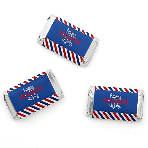 4th of July - Mini Candy Bar Wrappers Independence Day Party Favors - 20 Count