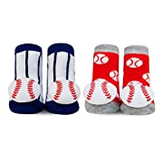 Waddle 2 Pair Baby Boy Rattle Baseball Socks Sports Red White Blue 0-12M