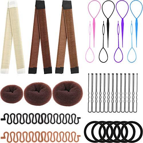 28 Pieces Hair Braiding Tools Set Includes Twist Bun Maker Donut Bun Maker Topsy Tail Hair Braid Centipede Shape Braiders Bobby Pins Elastic Hair Ties for Girls Women Supplies