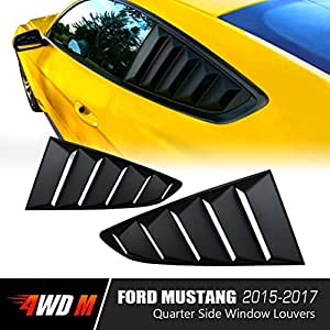 Matte Black GT 5 Vents Style Quarter Side Window Scoop Louvers for Ford Mustang 2015 2016 2017