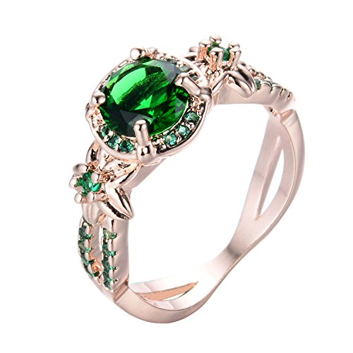 Cosines Jewelry - Vintage Round Cut Green Emerald Wedding Ring 10KT Rose Gold Filled Band Size (Claddagh Duo)